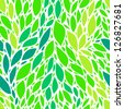 Green fresh spring leaves seamless pattern, vector - stock vector
