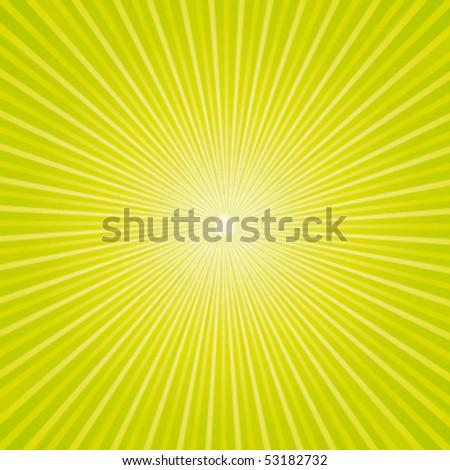 Green fresh sunburst. Vector background. - stock vector