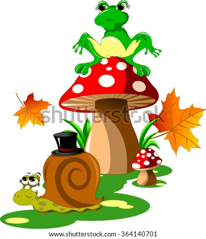 green frog sitting on a red mushroom hat, vector - stock vector
