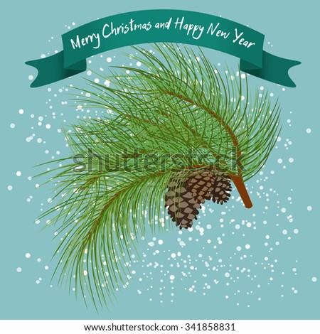 Green fur-tree branch with cones under snow. - stock vector
