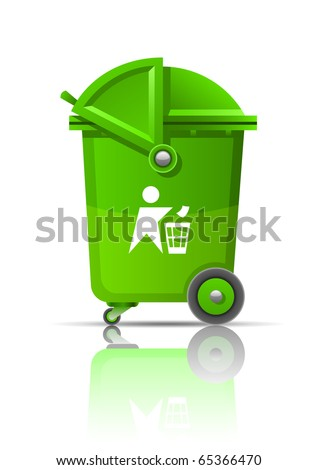 green garbage can vector illustration isolated on white background - stock vector