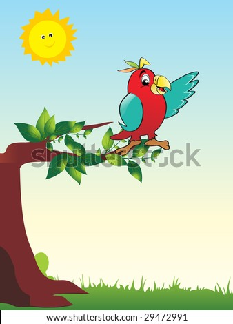 green garden background with parrot sitting on tree - stock vector