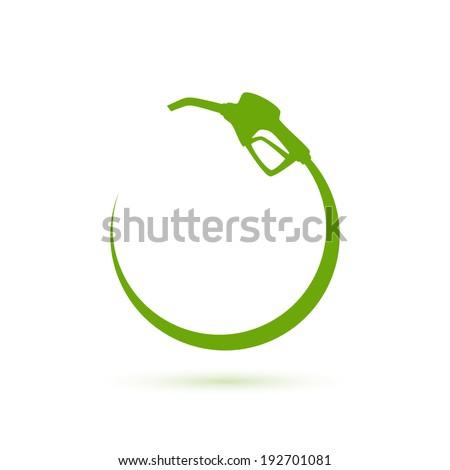 Green gas pump icon. Vector illustration - stock vector