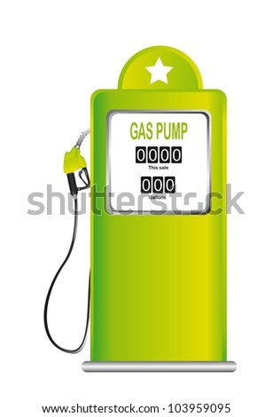 green gas pump isolated over white background. vector illustration - stock vector