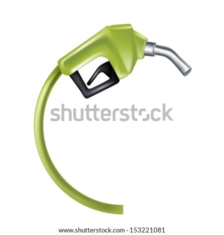 green gas pump nozzle isolated on white
