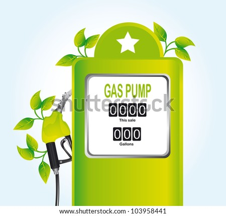 green gas pump with leaves over blue background. vector - stock vector