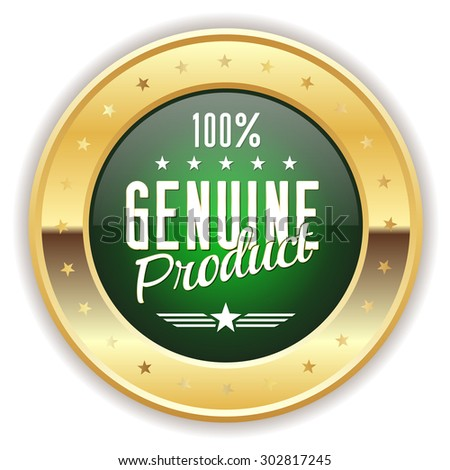 Green genuine product badge with gold border on white background - stock vector