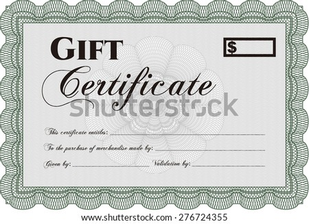 Green gift certificate template - stock vector