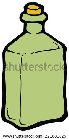 Green glass bottle with cork vector drawing. Set of kitchen items - stock vector