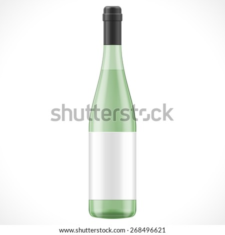 Green Glass Mock Up Wine Cider Bottle With Label On White Background Isolated. Product Packing. Vector EPS10 - stock vector