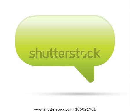 Green glassy empty speech bubble web button icon on white - stock vector