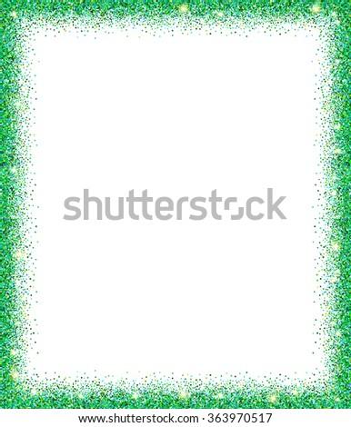 Green Glitter Frame Sparkles On White Stock Vector (Royalty Free ...