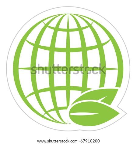 green globe - stock vector