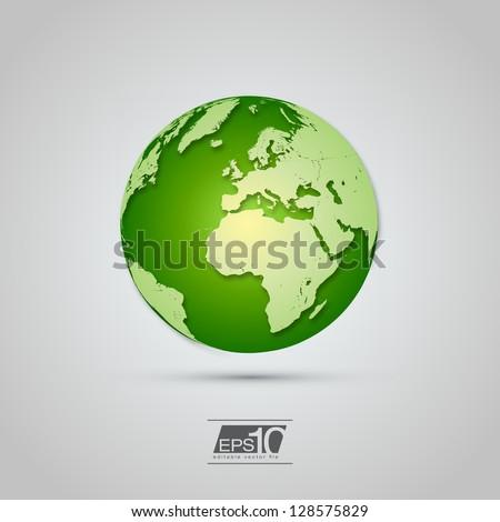 Green Globe Icon with Realistic Shadows | EPS10 Vector Design - stock vector