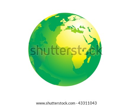 green globe with white background, vector illustration