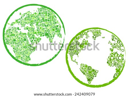 Green globes or world maps with the continents made of ecology, bio and environmental icons in circular frames - stock vector