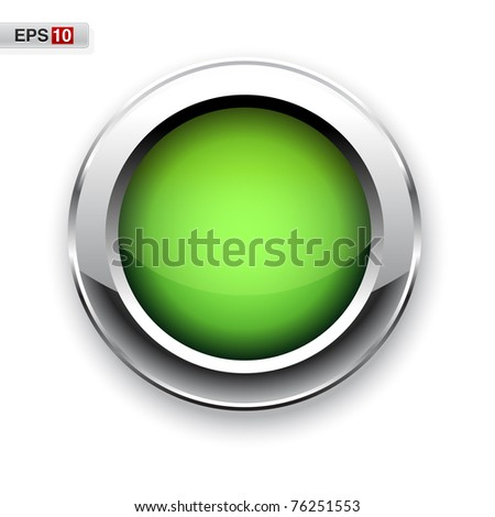 Green glossy button eps10 - stock vector