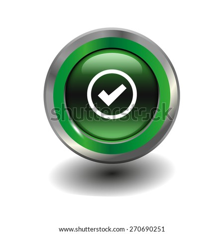 Green glossy button with metallic elements and white icon check, vector design for website - stock vector