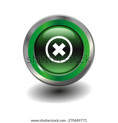 Green glossy button with metallic elements and white icon delete, vector design for website - stock vector