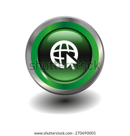 Green glossy button with metallic elements and white icon go to web, vector design for website - stock vector
