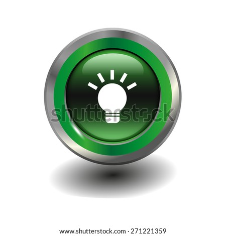 Green glossy button with metallic elements and white icon light bulb, vector design for website - stock vector