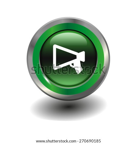 Green glossy button with metallic elements and white icon mouthpiece (announcing), vector design for website - stock vector