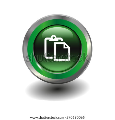 Green glossy button with metallic elements and white icon paste, vector design for website - stock vector