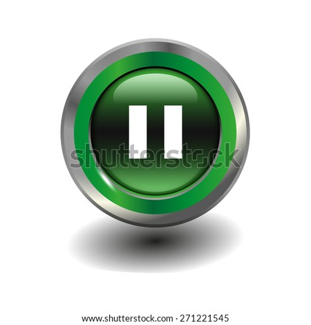 Green glossy button with metallic elements and white icon pause, vector design for website - stock vector