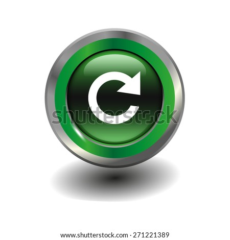 Green glossy button with metallic elements and white icon reload, vector design for website - stock vector
