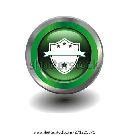 Green glossy button with metallic elements and white icon shield, warranty, vector design for website - stock vector