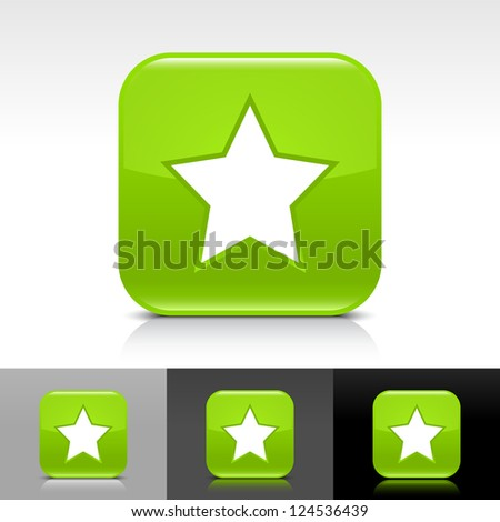 Green glossy button with white star sign. Rounded square shape icon with reflection, shadow on white, gray, black backgrounds. Vector illustration web design elements in 8 eps - stock vector