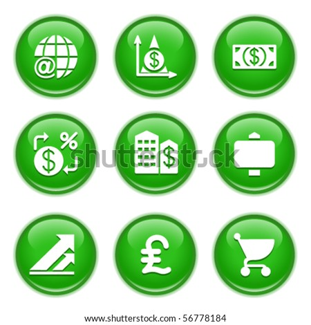 Green glossy buttons 23 - stock vector