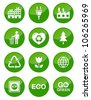 Green glossy buttons set - recycling, ecology, bio, green power - stock photo