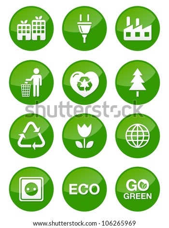 Green glossy buttons set - recycling, ecology, bio, green power - stock vector