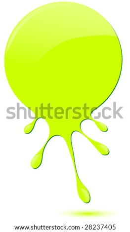Green glossy drip vector. - stock vector