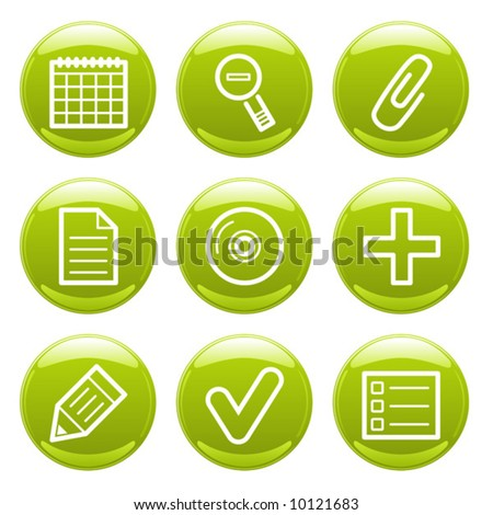 Green glossy finance icons set. Vector.