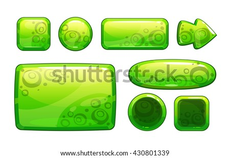 Green glossy game assets set, isolated on white, different shape buttons and panels for game or web design