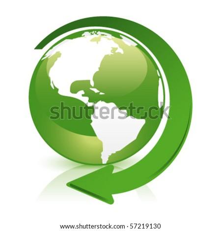 green glossy globe recycle america - stock vector