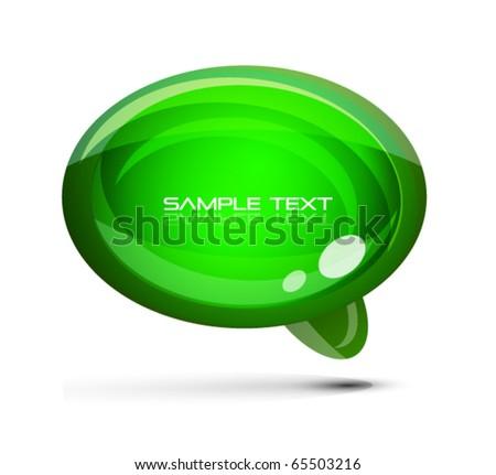 Green glossy speach bubble - stock vector