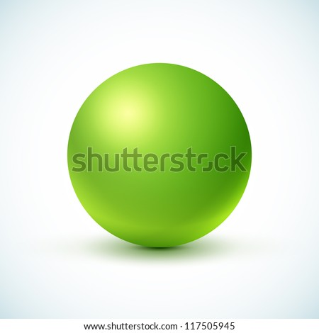 Green glossy sphere isolated on white. Vector illustration for your design. - stock vector