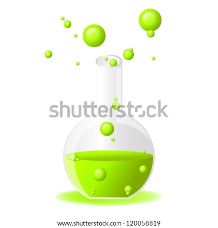 Green glossy test tube icon on white background, eps 10 - stock vector