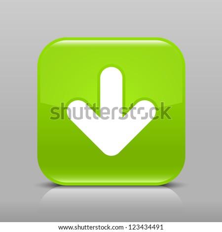 Green glossy web button with arrow download sign. Rounded square shape icon with shadow and reflection on light gray background. This vector illustration web design element saved in 8 eps - stock vector