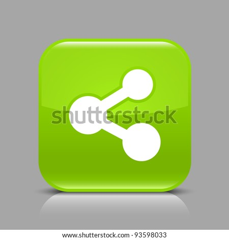 Green glossy web button with share sign. Rounded square shape icon with black shadow and light reflection on gray background. This vector illustration saved in 8 eps. See more buttons in my gallery