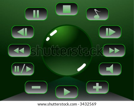 green glow media buttons - stock vector