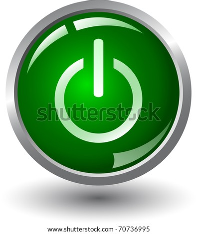 Green glowing power on or off button - stock vector