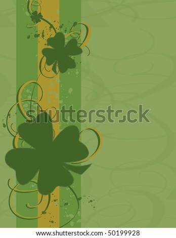 Green & gold shamrock background. - stock vector