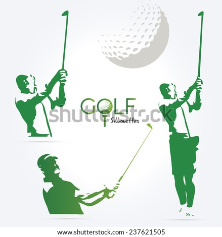 Green golf silhouettes, illustration isolated on white background - stock vector