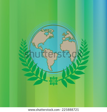 green gradient background with earthglobe and tree leaves - stock vector