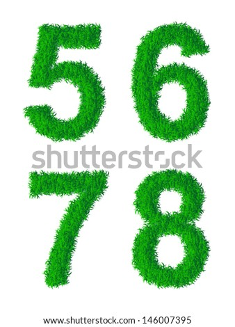 Green grass alphabet, digits 5, 6, 7, 8