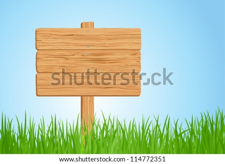 Green grass and Wooden sign in vector format - stock vector